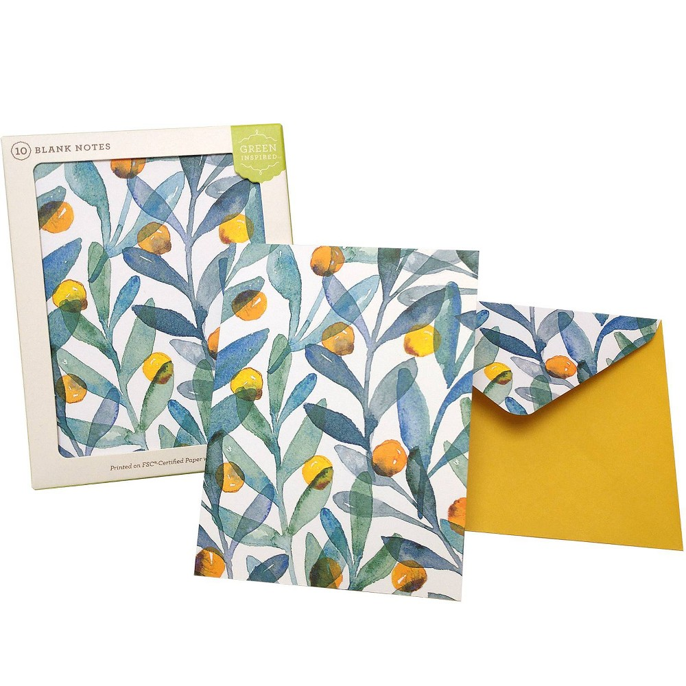 Image of 10ct Citrus Sprigs Card, Blue Green