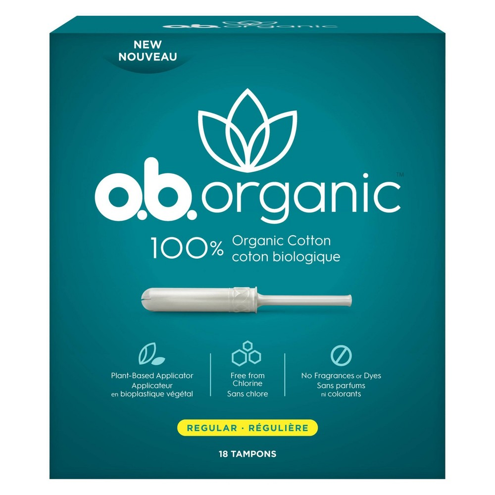 o.b. 100% Organic Cotton Regular Absorbency Tampons, With Plant-Based Applicator - 18ct