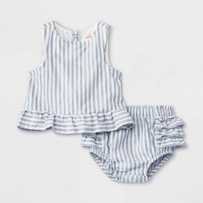 Baby Girls' 2pc Striped Lurex Poplin Elevated Top & Bottom Set - Cat & Jack™ White