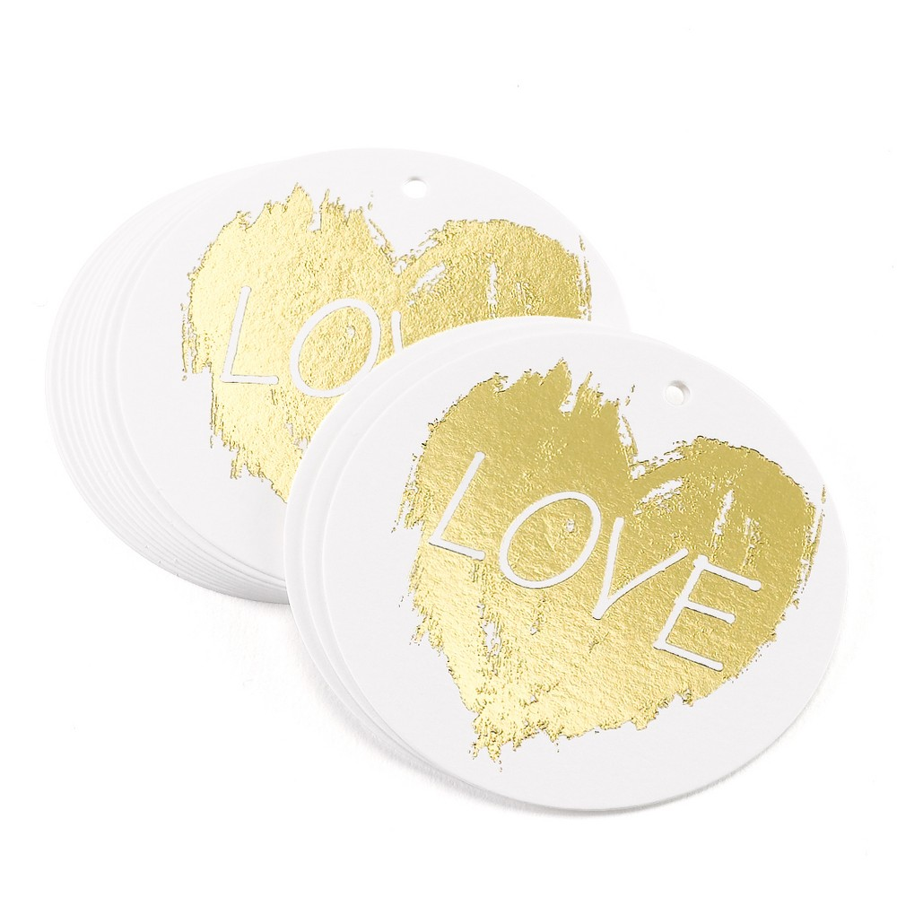 25ct Love Heart' Wedding Favor Tags, Gold Circle white vellum favor tags with gold foil stamp and hole for threading ribbon. Ribbon not included. Pre packaged set of 25. Pattern: Letters.