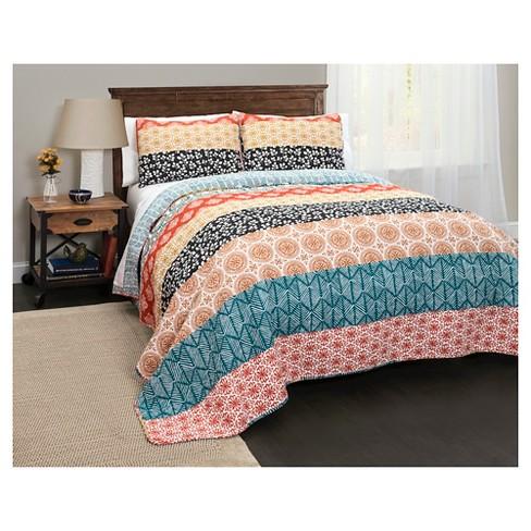 Bohemian Stripe 3 Piece Quilt Set Lush Decor Target