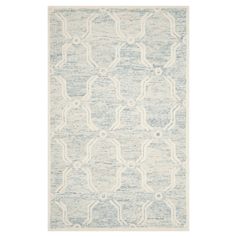 Light Blue Ivory Abstract Tufted Area Rug 5 39 X8 39 Safavieh