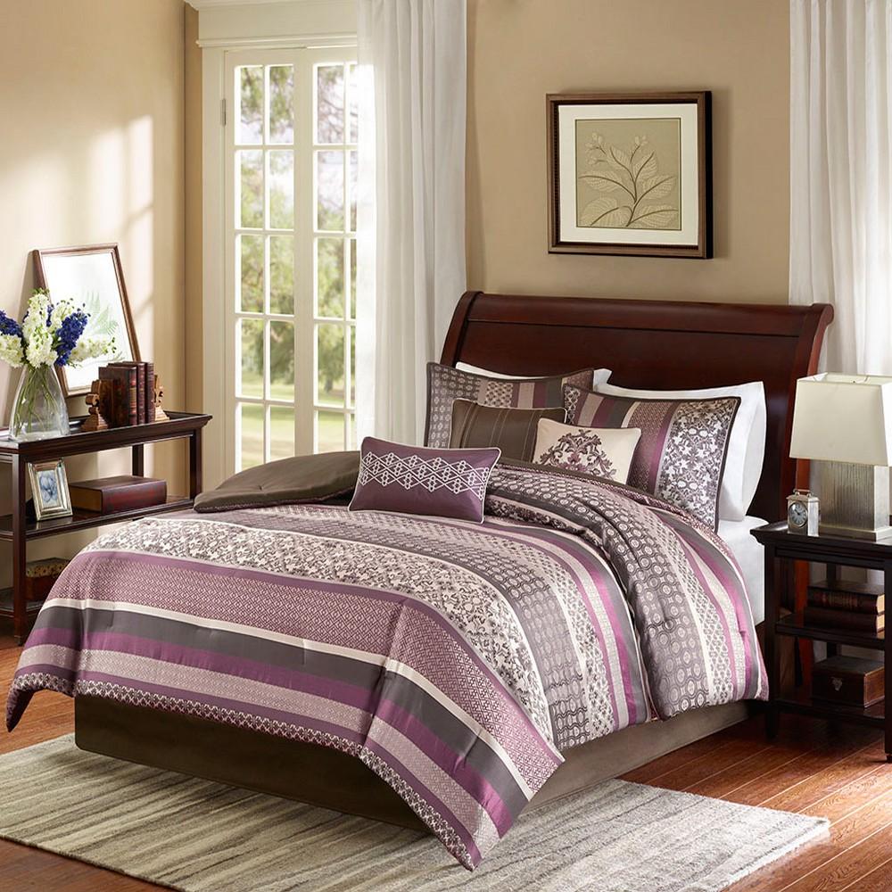 King 7pc Cambridge Jacquard Comforter Set Purple/Brown
