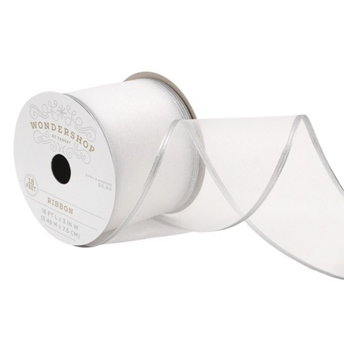 3'' White Sheer with Silver Edge Fabric Ribbon 18ft - Wondershop™ - image 1 of 2