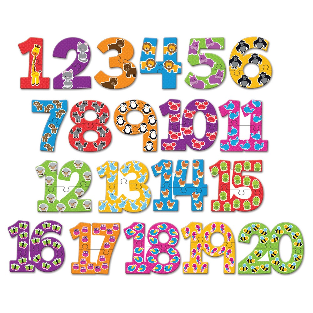 Learning Resources Number Puzzle Cards Kids will build number recognition and early counting skills with this colorful set of number puzzle pieces. Each number features bold graphics to match the corresponding amount. Includes 20 durable, two-piece puzzles.
