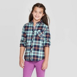 Girls' Plaid Woven Button-Down Shirt - Cat & Jack™ Turquoise