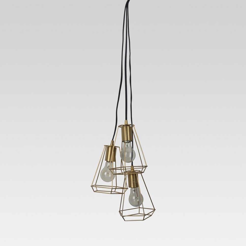 Entenza 3-Head Faceted Geometric Pendant Ceiling Light Brass Lamp Only - Project 62