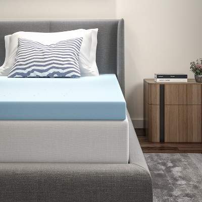 """Emma and Oliver 3"""" Cool Gel Infused Hypoallergenic Cooling Memory Foam Mattress Topper"""