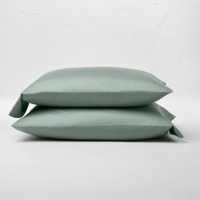Standard 500 Thread Count Washed Supima Sateen Solid Pillowcase Set Sage Green - Casaluna™