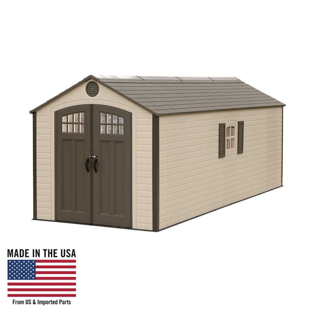 Outdoor Storage Shed 8' x 20' - Desert Sand - Lifetime, Gray