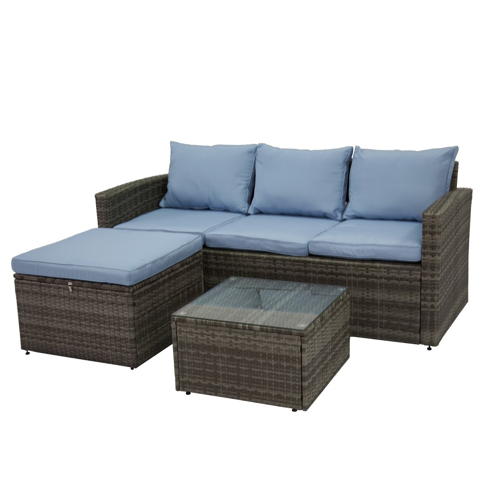 Image of 3pc Rio All-Weather Wicker Conversation set with Storage Gray/Blue - Thy Hom