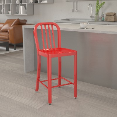 "Emma and Oliver Commercial Grade 24""H Colorful Metal Indoor-Outdoor Vertical Slat Counter Stool"
