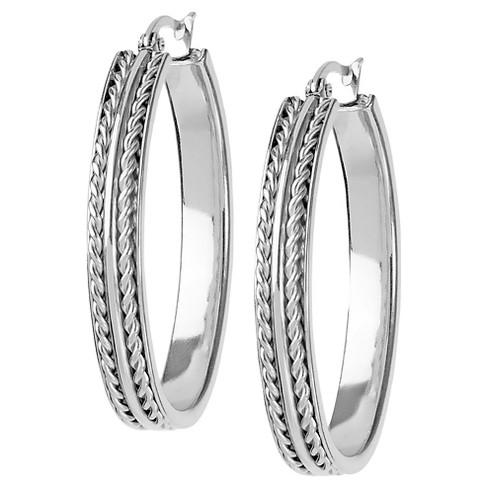 Women's Oval Twisted Rope Hoop Stainless Steel Earrings - Silver - image 1 of 3
