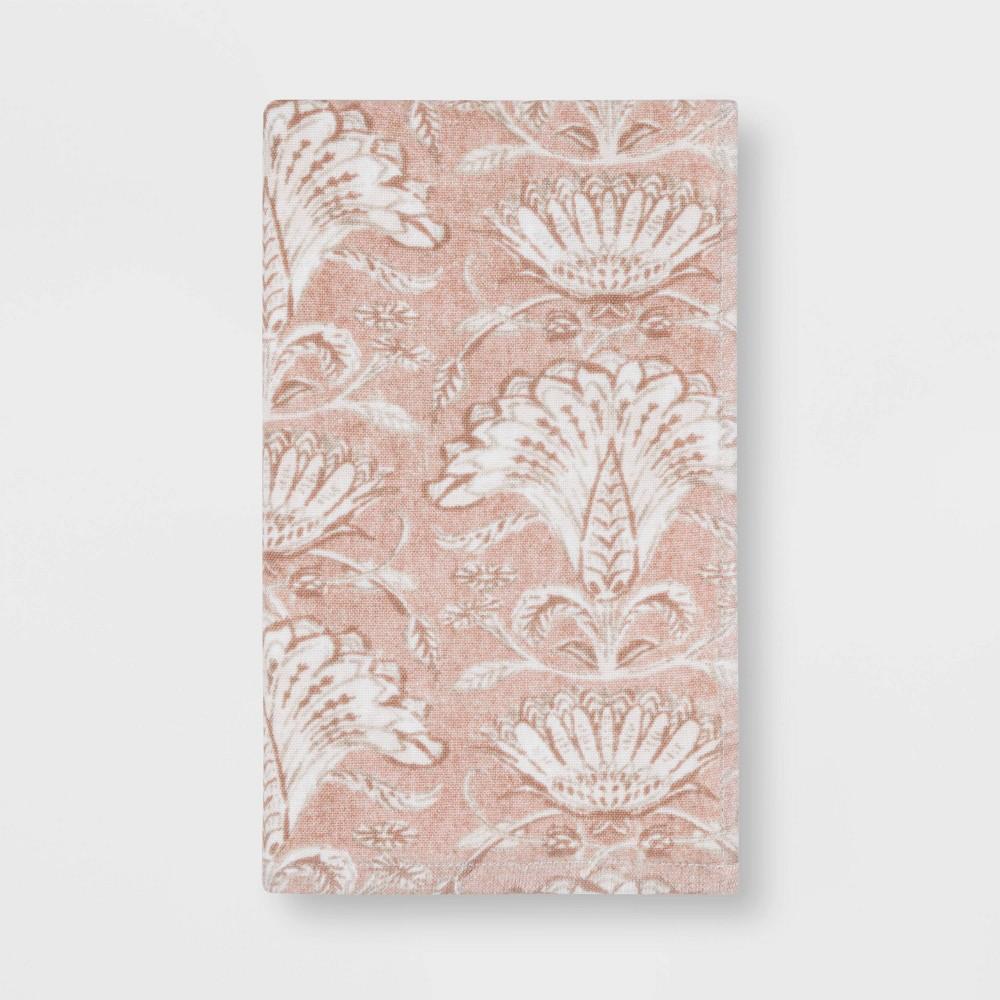 Floral Flat Woven Hand Towel Blush Threshold 8482