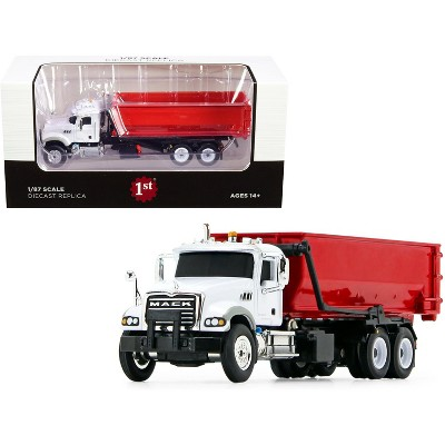 Mack Granite with Tub-Style Roll-Off Container Dump Truck White and Red 1/87 Diecast Model by First Gear