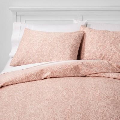 King Family Friendly Medallion Duvet & Pillow Sham Set Pink - Threshold™