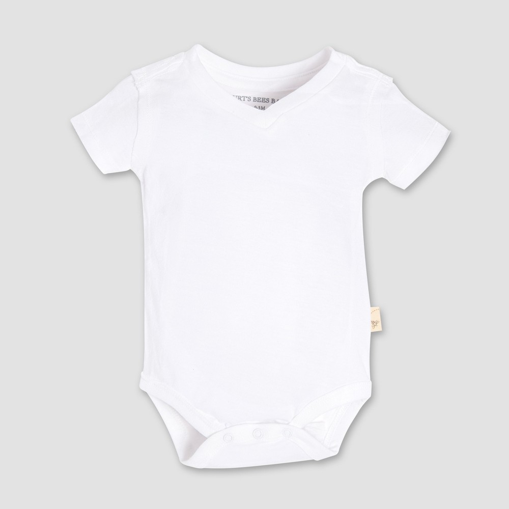 Burt's Bees Baby Short Sleeve V-Neck Bodysuit - White 3-6M, Infant Unisex