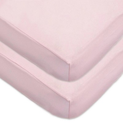 TL Care Fitted Cotton Crib Sheet - Pink - 2pk