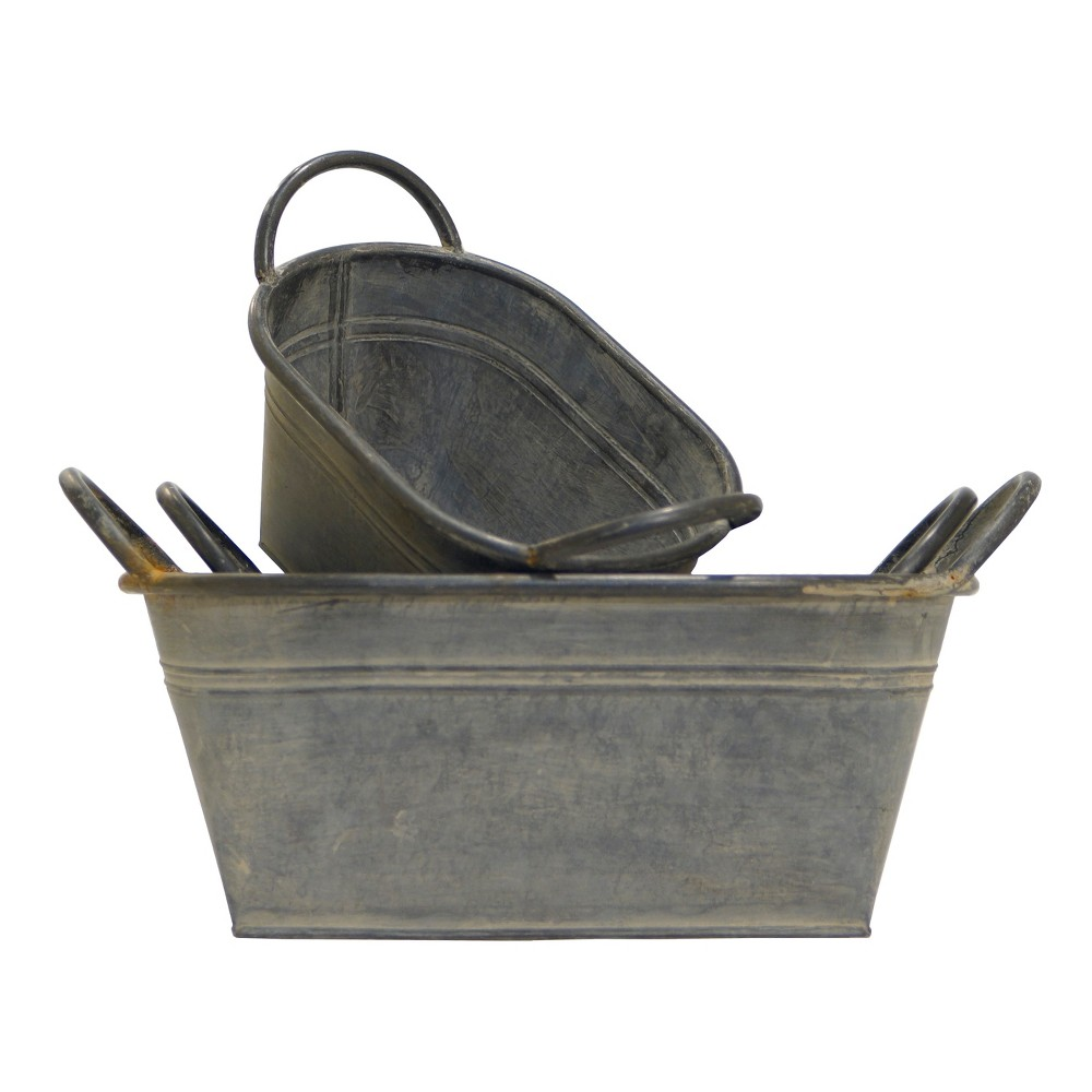 Metal Decorative Bucket Set 3pc - Vip Home & Garden, Gray