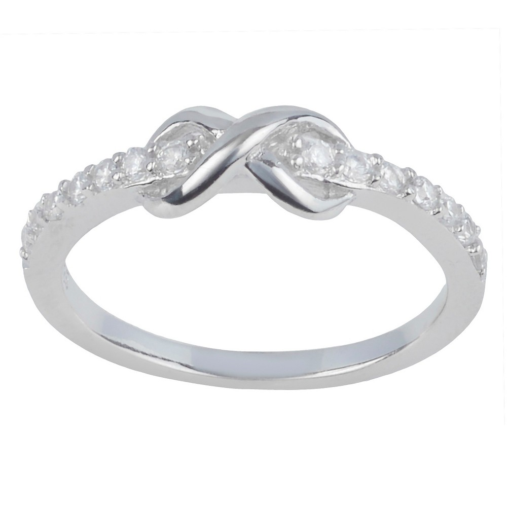 1/5 CT. T.W. Round-Cut CZ Pave Set Infinity Ring in Sterling Silver - Silver, 7, Girl's