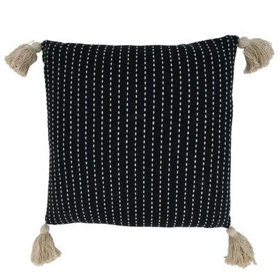 "18""x18"" Stitched Tassel Design Square Throw Pillow Cover Black - Saro Lifestyle"