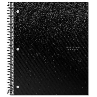 Five Star 1 Subject Wide Ruled Spiral Notebook Black
