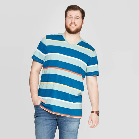 76cb9c9e0189 Men's Big & Tall Striped Novelty V-Neck T-Shirt - Goodfellow & Co™ West  Coast Green 5XB : Target