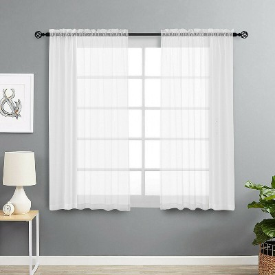 Kate Aurora Living 2 Pack Basic Home Rod Pocket Sheer Voile Window Curtains