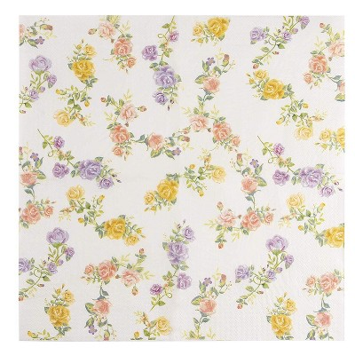"Juvale 100-Pack Floral Roses Disposable Paper Napkins 6.5"", Weddings Bridal Shower Tea Party Supplies"
