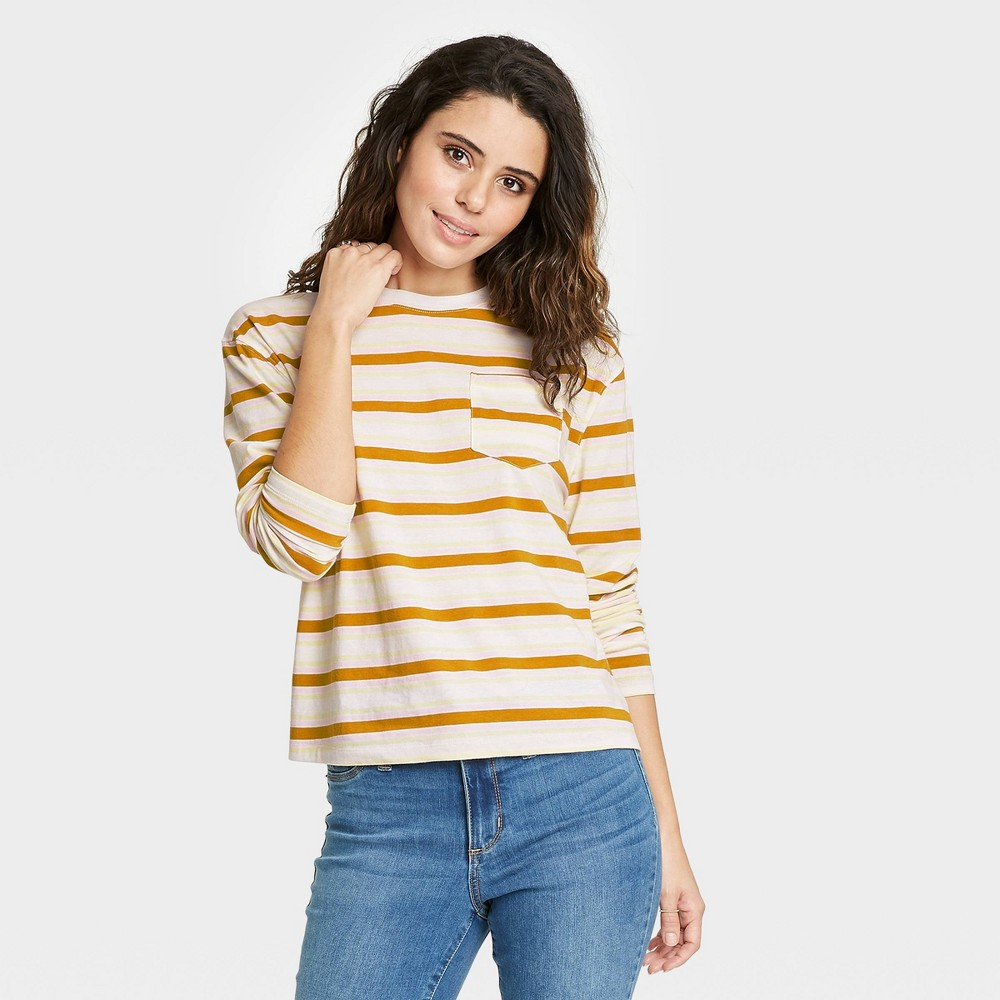 Women 39 S Striped Slim Fit Long Sleeve Round Neck Pocket T Shirt A New Day 8482 Olive Green Xxl