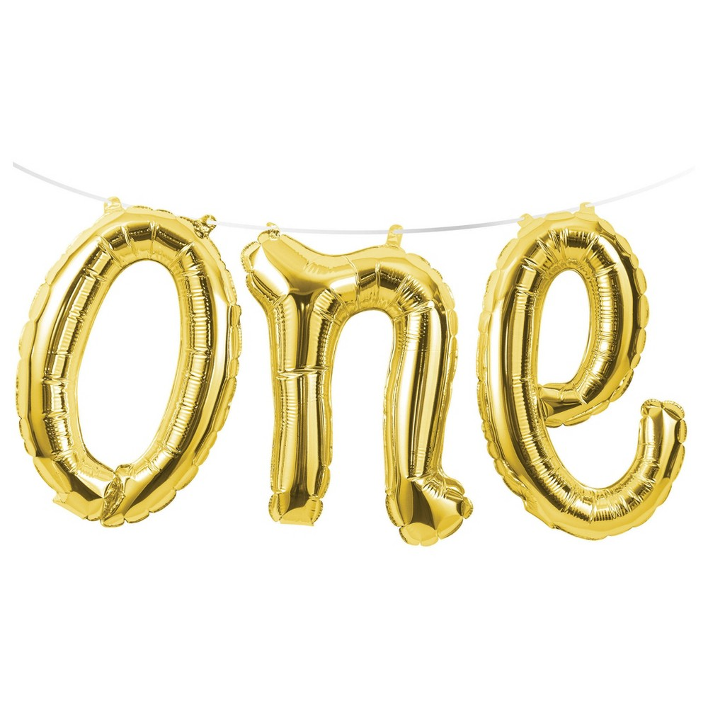 "Image of ""1st Birthday """"One"""" Balloon Banner"""
