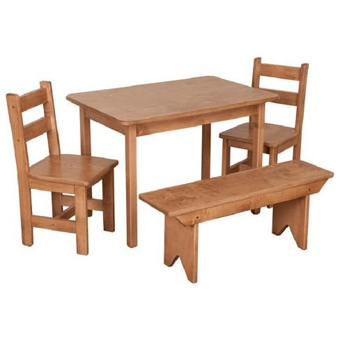 Remley Kids Wooden Rectangular Table with 2 Chairs and 1 Bench Dining  Playset - Ships Assembled