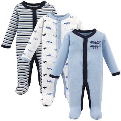 Luvable Friends Baby Boy Cotton Preemie Snap Sleep and Play 3pk, Airplane, Preemie