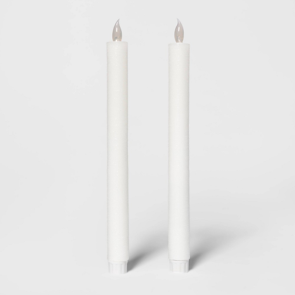 "Image of ""10.8"""" 2pk LED Distressed Shimmer Flameless Taper Candle Set White - Threshold"""