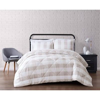 Truly Soft Everyday Full/Queen Buffalo Plaid Comforter Set Khaki/White