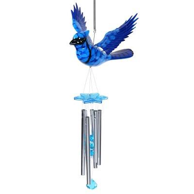 """24"""" Jay Bird Fluttering Wings Wind Chime Blue - Exhart"""