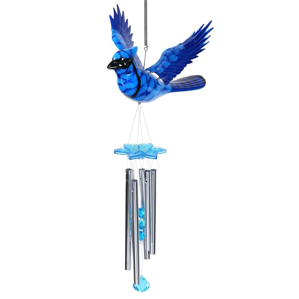 24 34 Jay Bird Fluttering Wings Wind Chime Blue Exhart