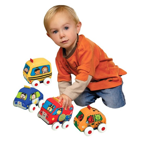 Melissa & Doug K's Kids Pull-Back Vehicle Set - Soft Baby Toy Set With 4 Cars and Trucks and Carrying Case image number null