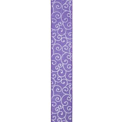 "Northlight Purple and White Swirl Wired Spring Craft Ribbon 2.5"" x 10 Yards"