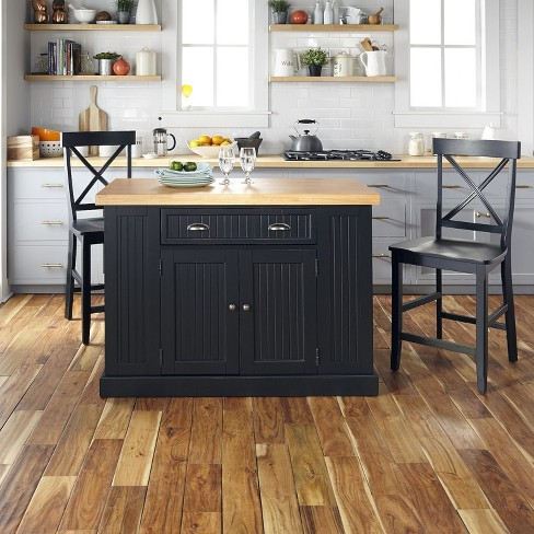 Nantucket Solid Wood Top Kitchen Island And 2 Counter Stools Black Home Styles