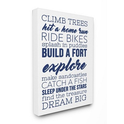 "24""x1.5""x30"" Climb Trees Dream Big Navy with White Oversized Stretched Canvas Wall Art - Stupell Industries"