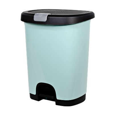 7gal Step Trash Can With Locking Lid Turquoise - Room Essentials™