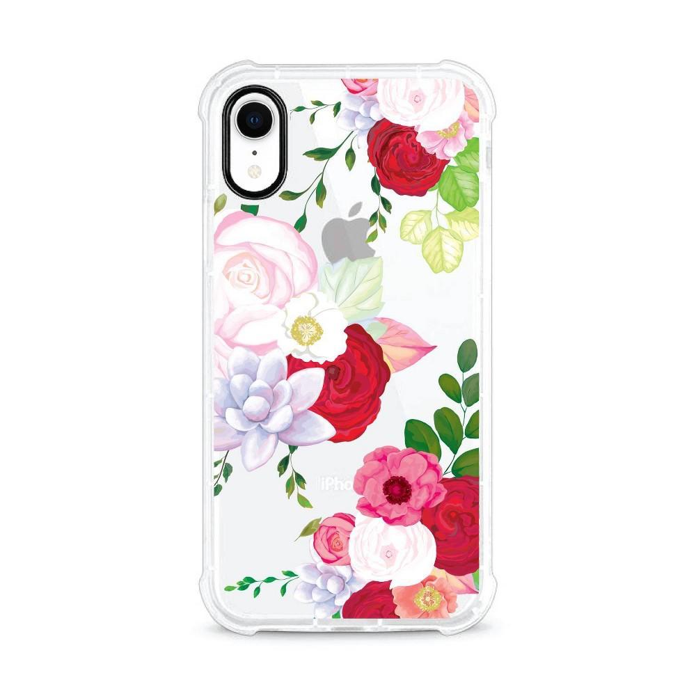 Otm Essentials Apple iPhone XR Rugged Edge Clear Case - Red Flower Garden