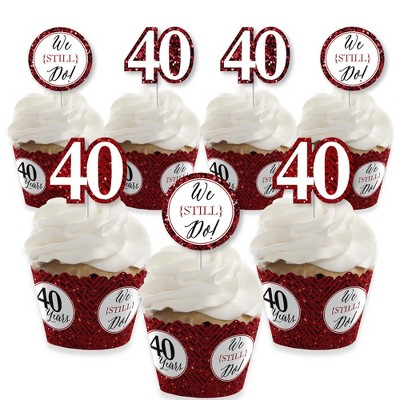 Big Dot of Happiness We Still Do - 40th Wedding Anniversary - Cupcake Decoration - Anniversary Party Cupcake Wrappers and Treat Picks Kit - Set of 24