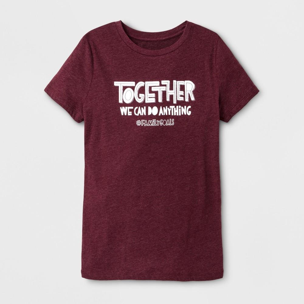 Women's Short Sleeve Family Goals Graphic T-Shirt - Burgundy S, Red
