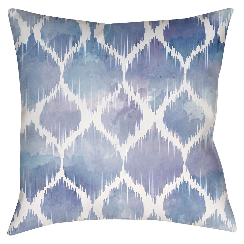 Indigo (Blue) Pastel Ogee Throw Pillow 18