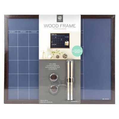 Ubrands Wood Frame Blue Chalk Calendar Board - 16  x 20