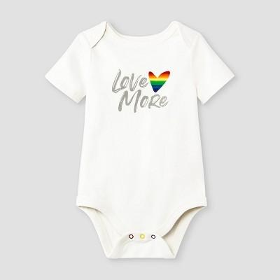 Baby Girls' Love More Short Sleeve Bodysuit - Cat & Jack™ Light Cream 6-9M