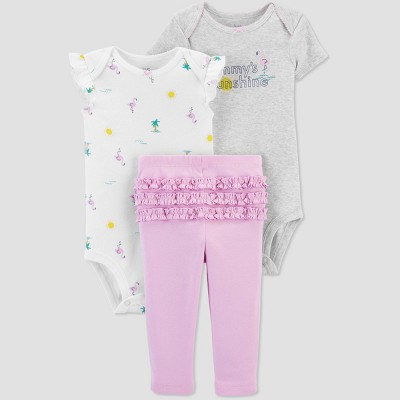Baby Girls' Summer Print Top & Bottom Set - Just One You® made by carter's White/Gray/Pink