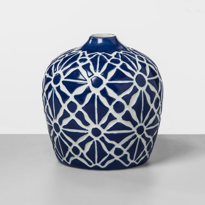 7.2  x 6.7  Stoneware Block Print Vase White/Blue - Threshold™